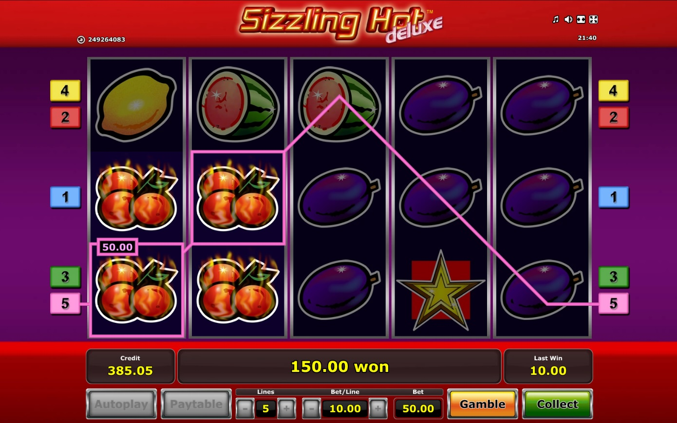 Slot machine games sizzling hot