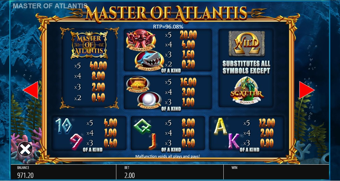 Master of Atlantis игровой автомат