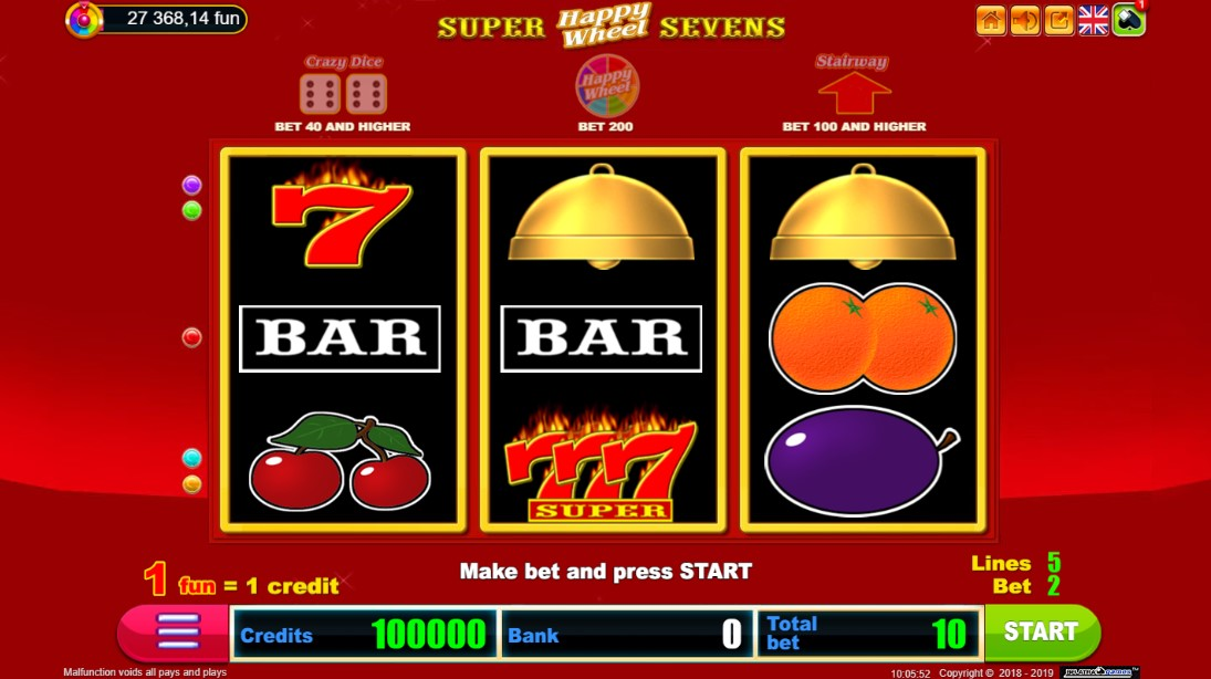 Бесплатный слот Super Sevens Happy Wheel