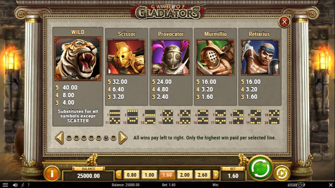 Game of Gladiators бесплатный игровой автомат