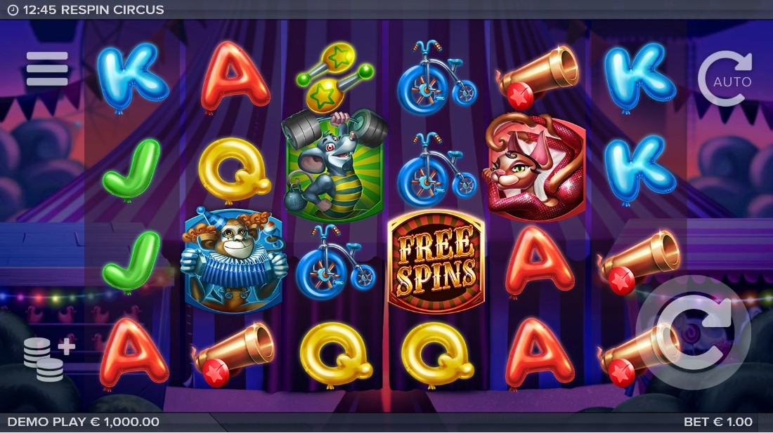 Respin Circus бесплатный игровой автомат