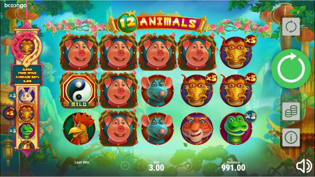 Слот 12 Animals играть