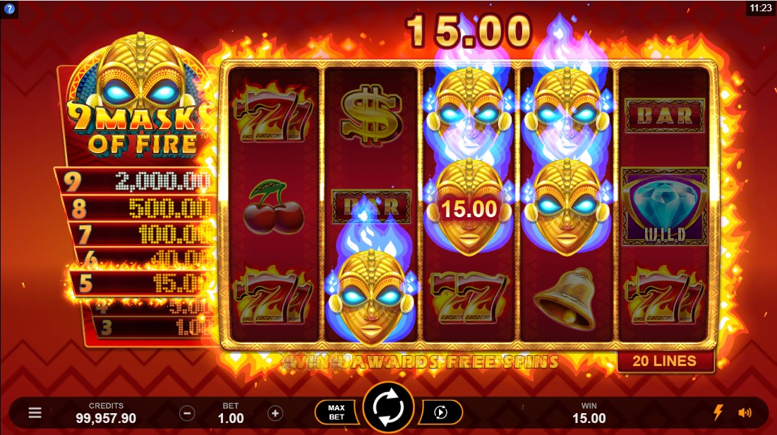 Слот 9 Masks Of Fire играть