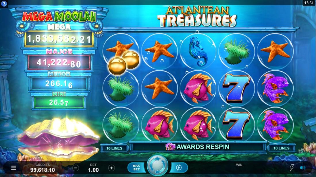 Слот Atlantean Treasures Mega Moolah играть