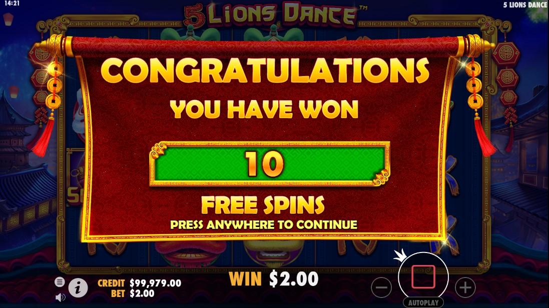 5 Lions Dance онлайн слот